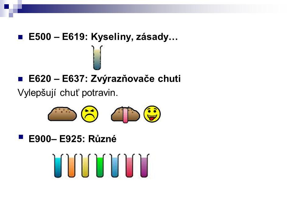 E500 – E619: Kyseliny, zásady… E620 – E637: Zvýrazňovače chuti.