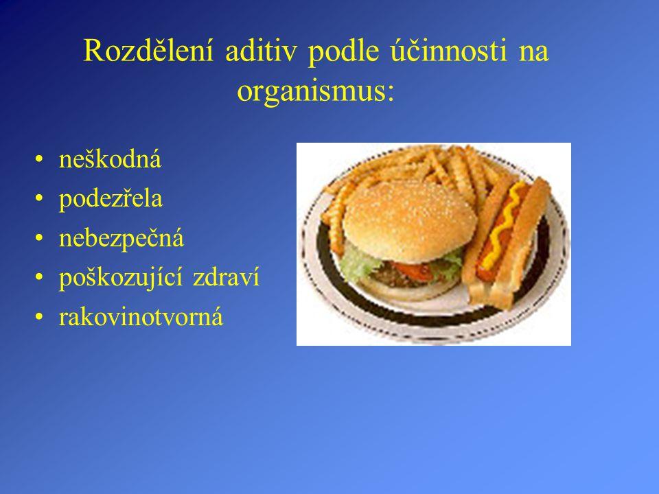 Rozdělení aditiv podle účinnosti na organismus: