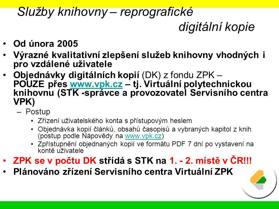 Služby knihovny – reprografické digitální kopie