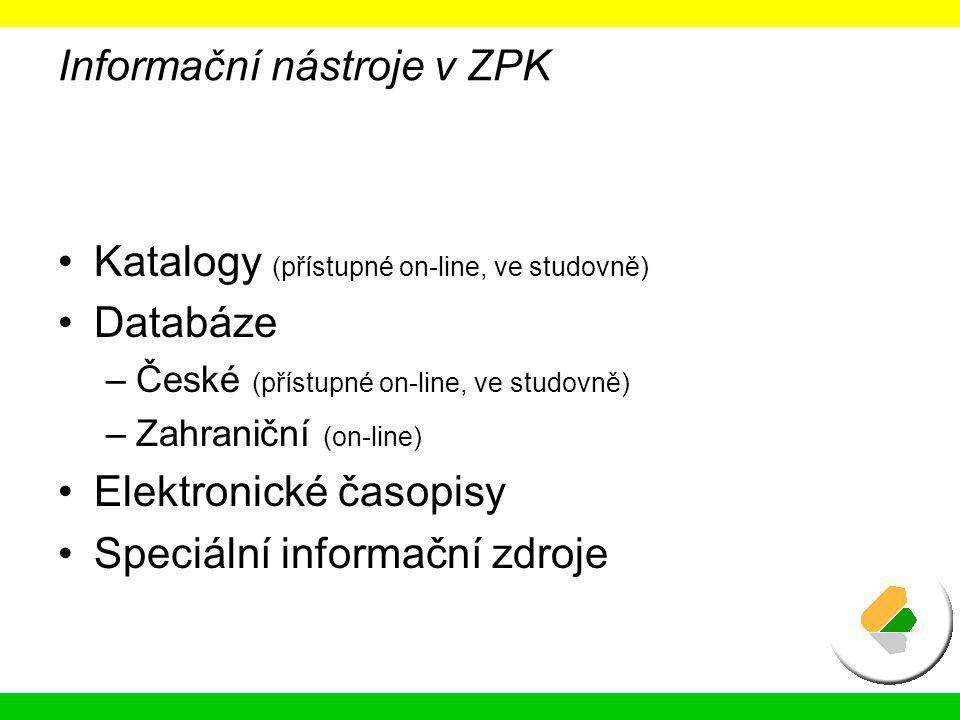 Informační nástroje v ZPK