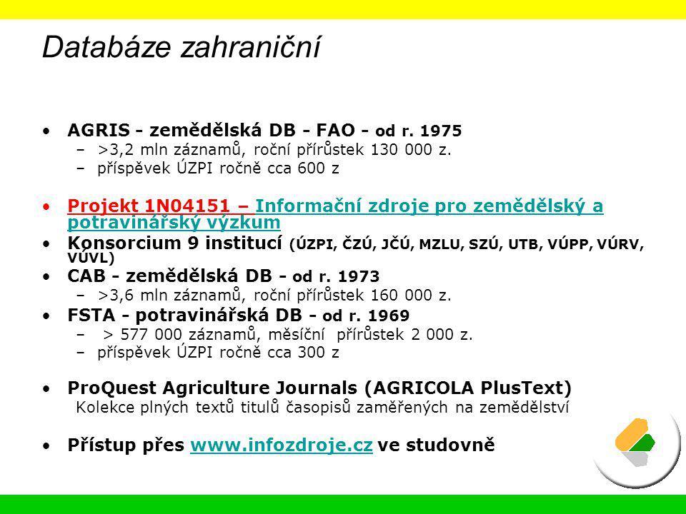 Databáze zahraniční AGRIS - zemědělská DB - FAO - od r. 1975