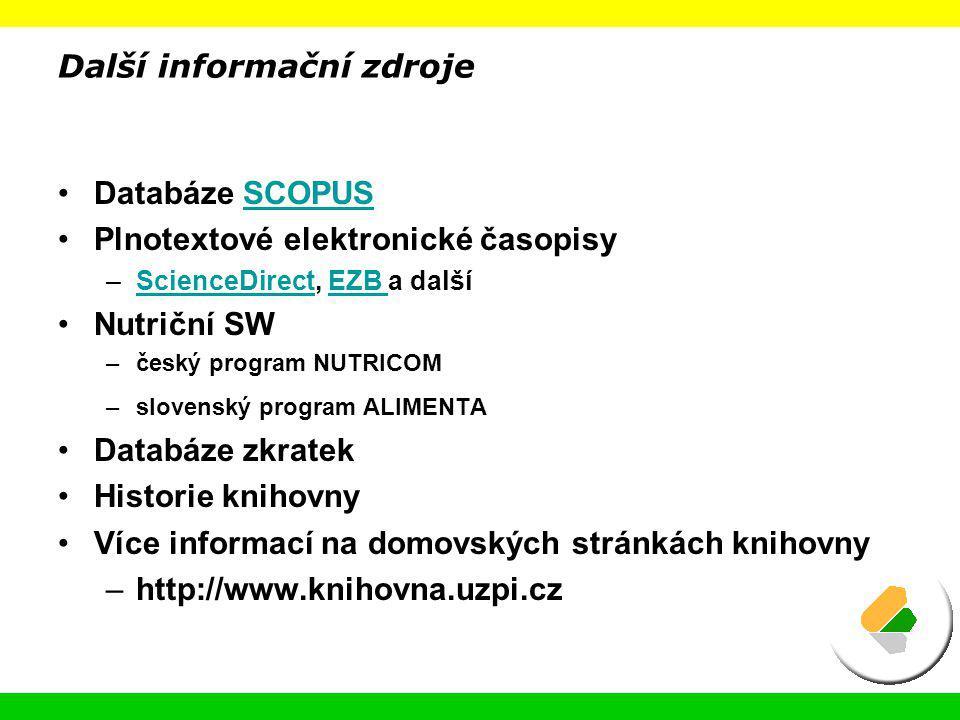Další informační zdroje