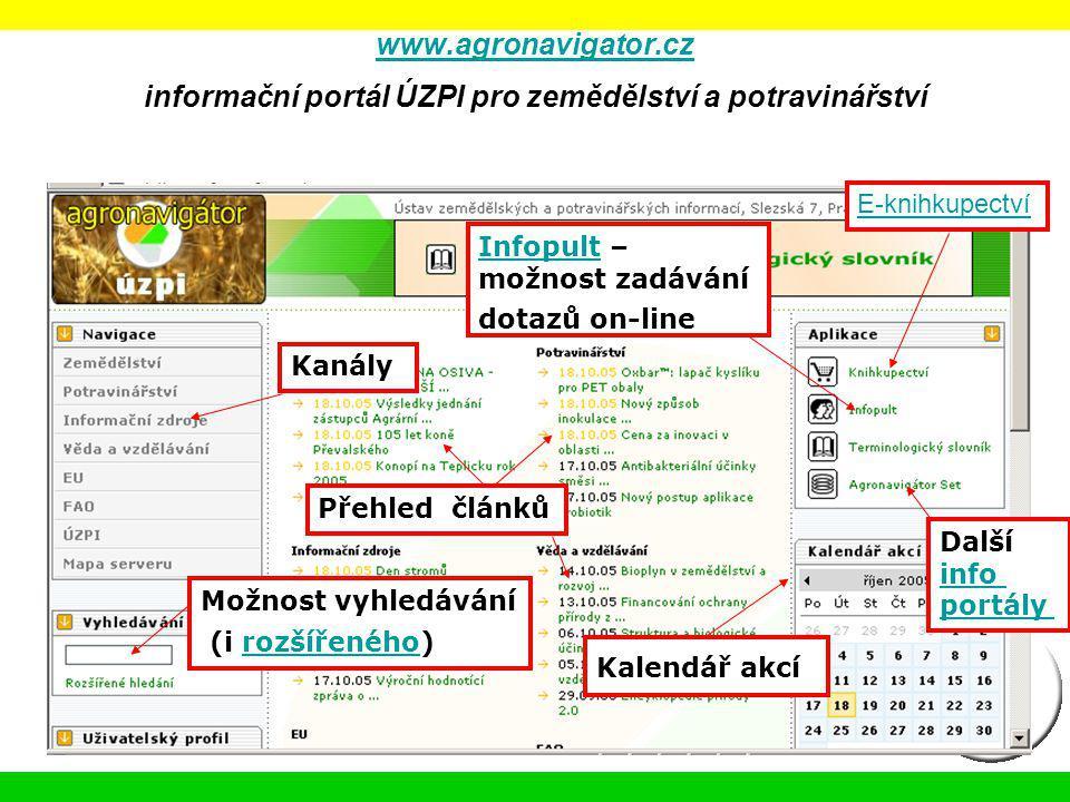 www.agronavigator.cz informační portál ÚZPI pro zemědělství a potravinářství