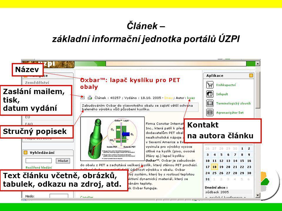 Článek – základní informační jednotka portálů ÚZPI