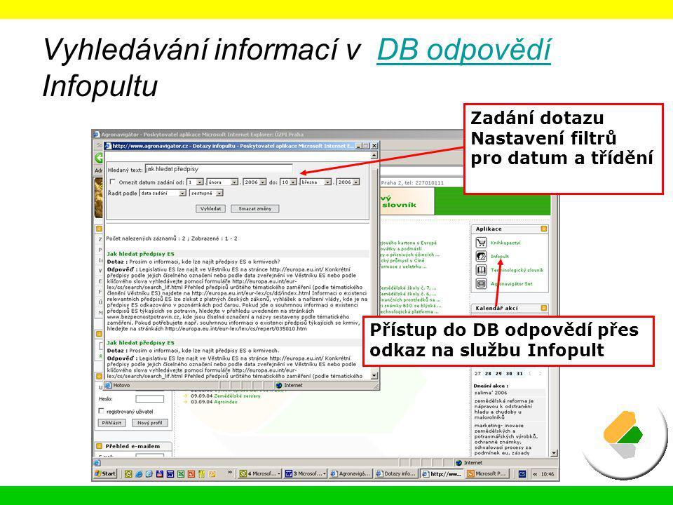 Vyhledávání informací v DB odpovědí Infopultu