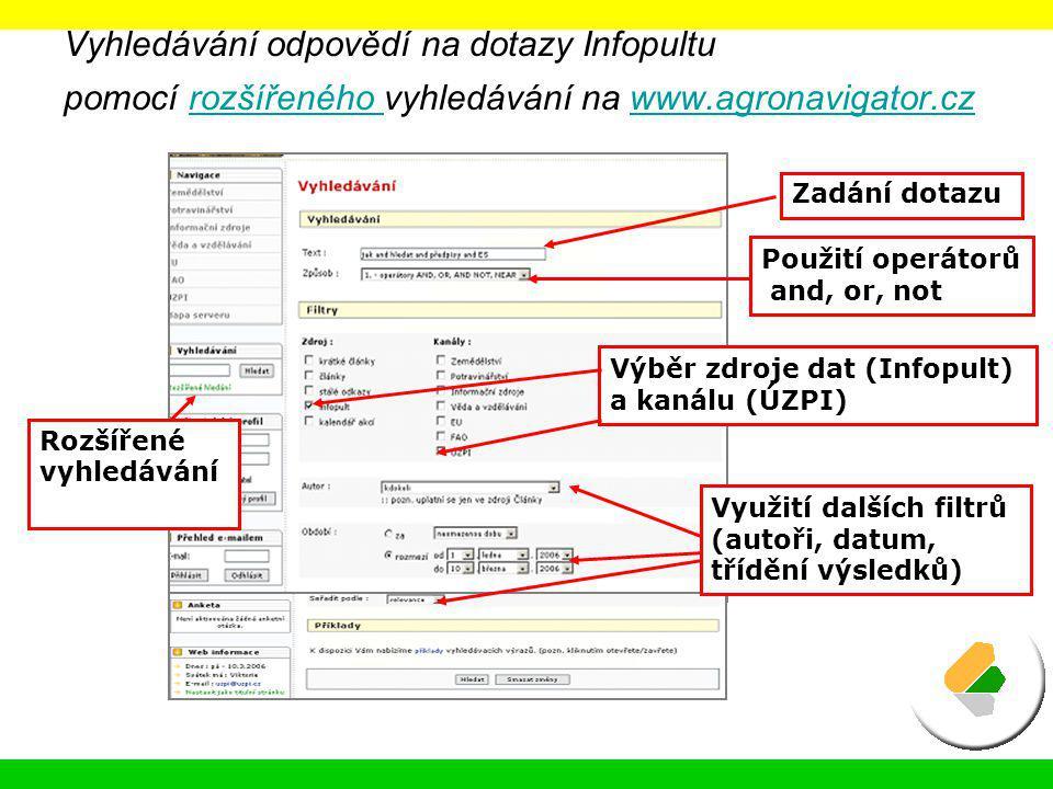 Vyhledávání odpovědí na dotazy Infopultu pomocí rozšířeného vyhledávání na www.agronavigator.cz