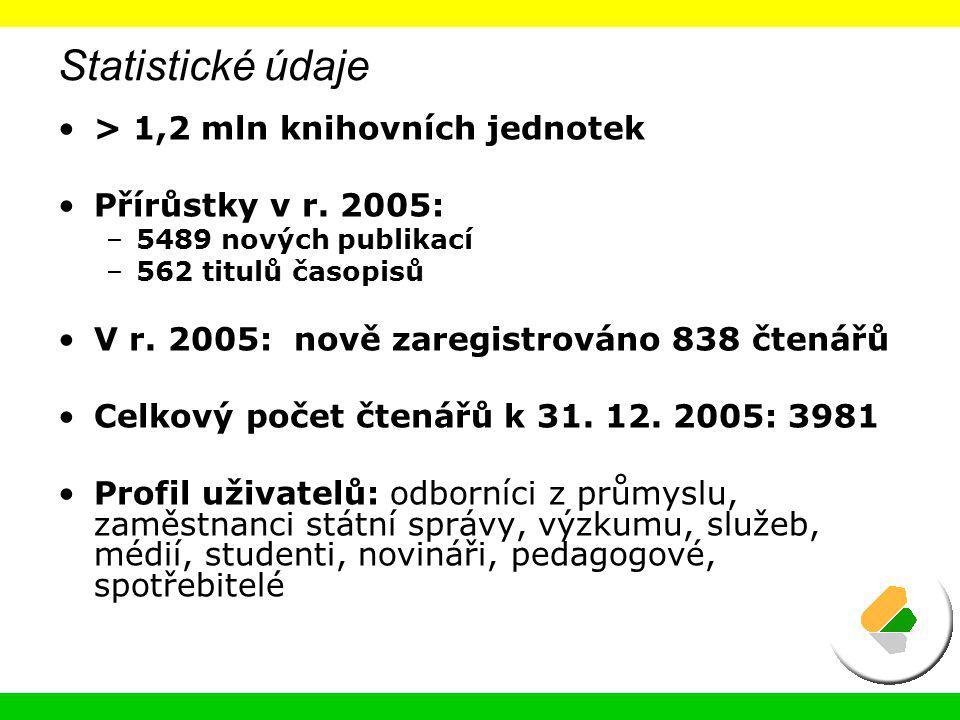 Statistické údaje > 1,2 mln knihovních jednotek