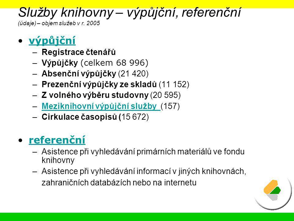 Služby knihovny – výpůjční, referenční (údaje) – objem služeb v r. 2005
