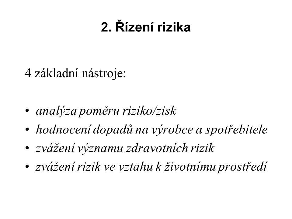 2. Řízení rizika 4 základní nástroje: analýza poměru riziko/zisk. hodnocení dopadů na výrobce a spotřebitele.