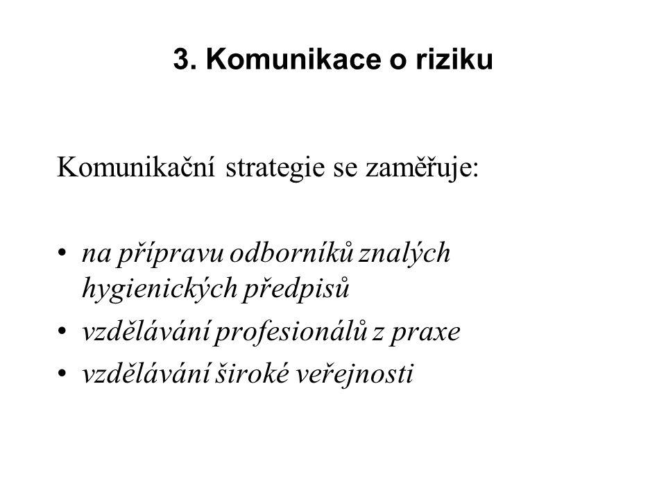 3. Komunikace o riziku Komunikační strategie se zaměřuje: na přípravu odborníků znalých hygienických předpisů.