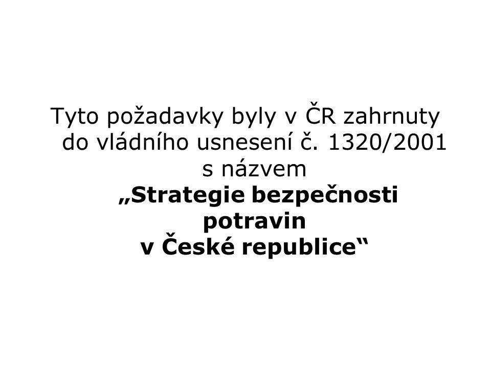 Tyto požadavky byly v ČR zahrnuty do vládního usnesení č