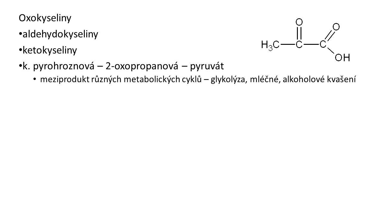 k. pyrohroznová – 2-oxopropanová – pyruvát