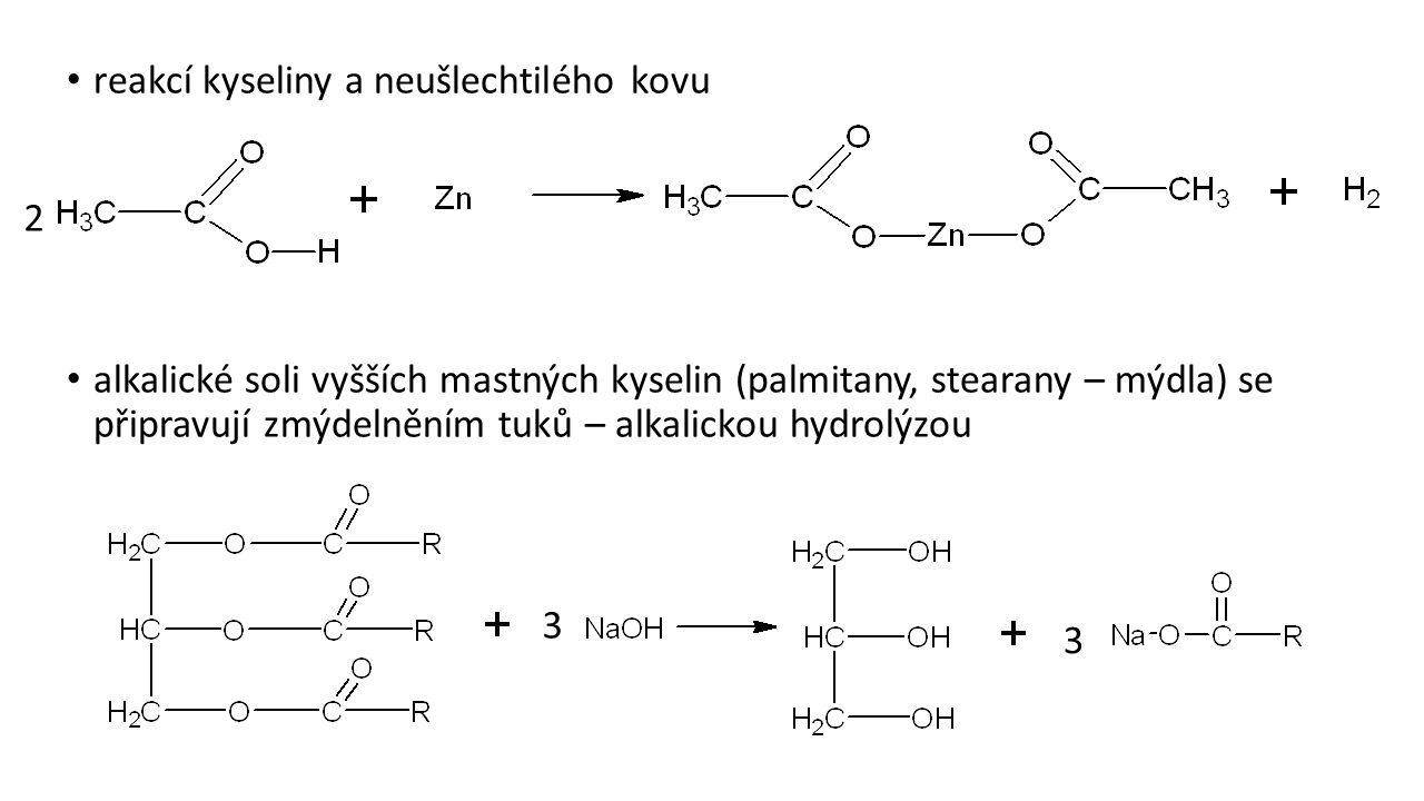 reakcí kyseliny a neušlechtilého kovu