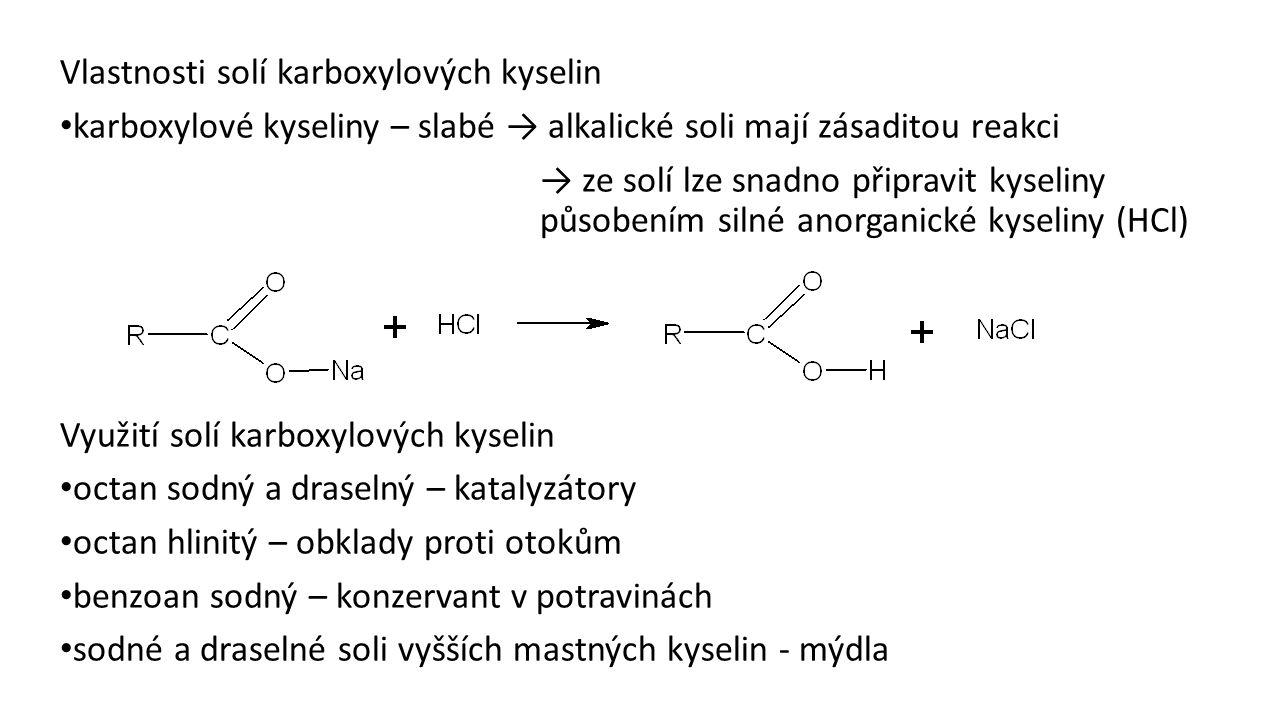 Vlastnosti solí karboxylových kyselin