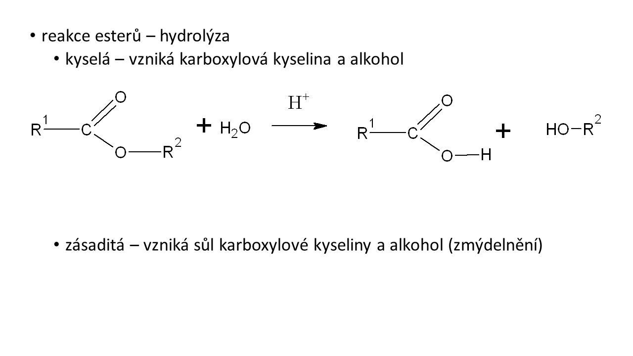 reakce esterů – hydrolýza
