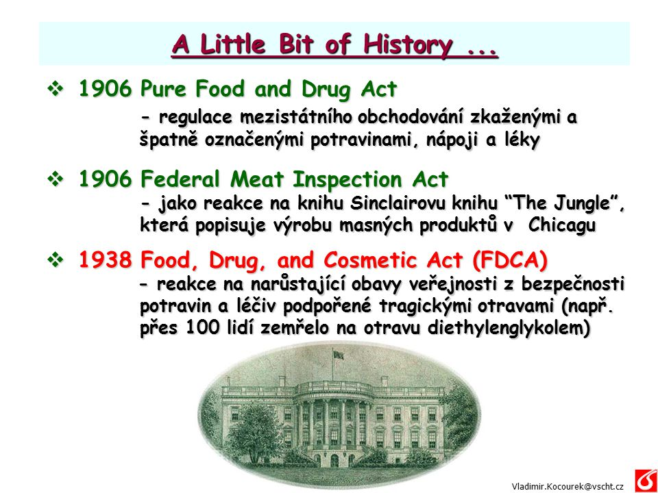 A Little Bit of History ... 1906 Pure Food and Drug Act