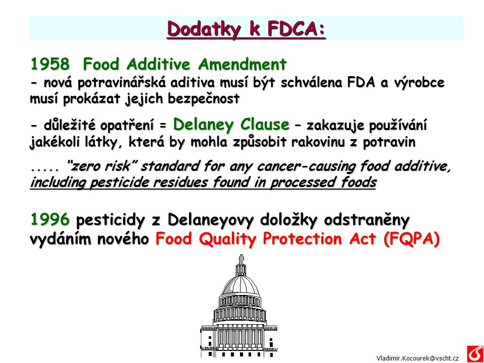 Dodatky k FDCA: 1958 Food Additive Amendment