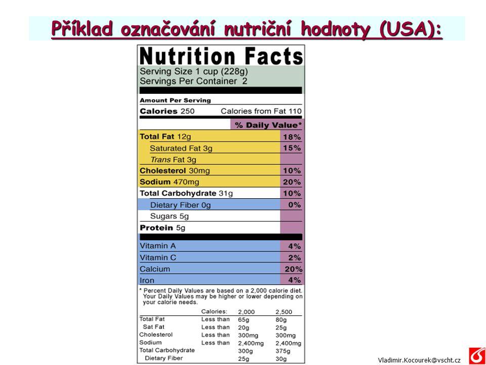 Příklad označování nutriční hodnoty (USA):