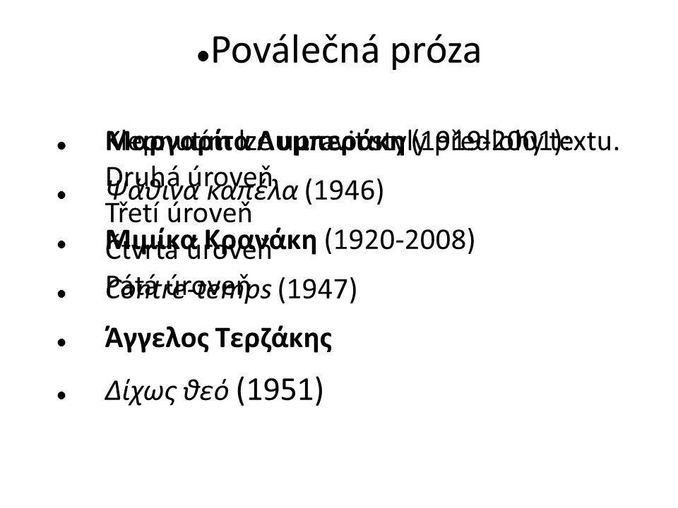 Poválečná próza Μαργαρίτα Λυμπεράκη (1919-2001): Ψάθινα καπέλα (1946)