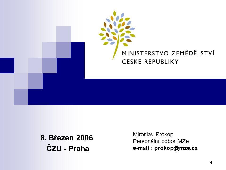 8. Březen 2006 ČZU - Praha Miroslav Prokop Personální odbor MZe