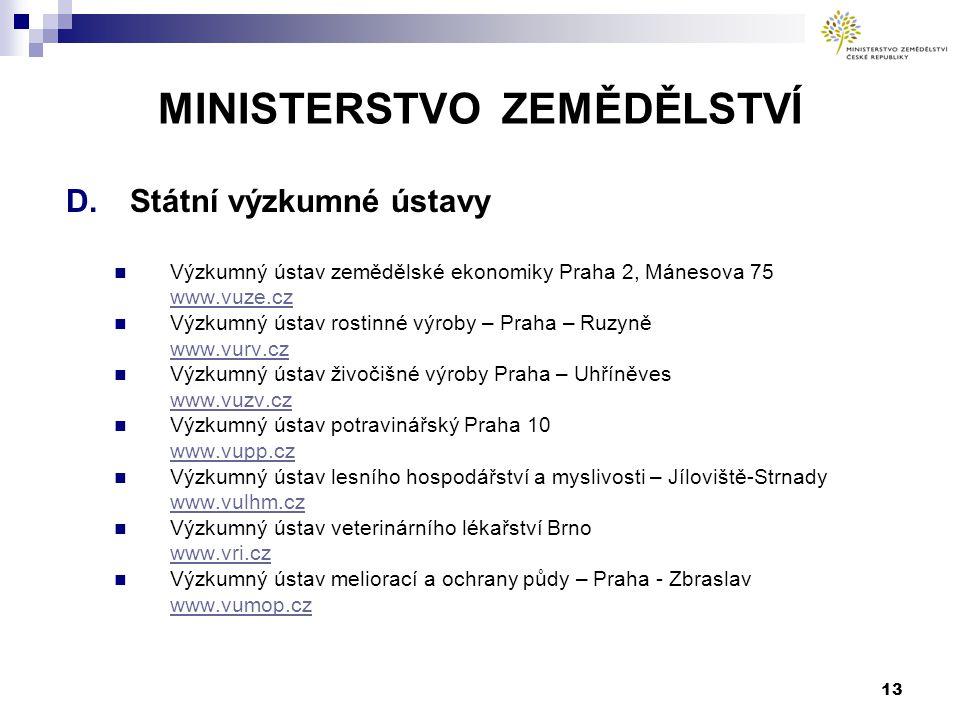 MINISTERSTVO ZEMĚDĚLSTVÍ