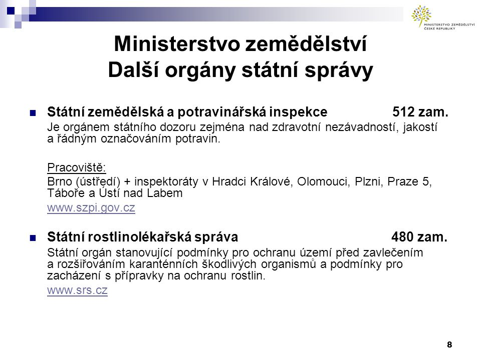 Ministerstvo zemědělství Další orgány státní správy