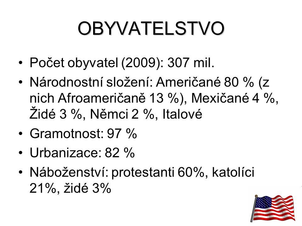OBYVATELSTVO Počet obyvatel (2009): 307 mil.