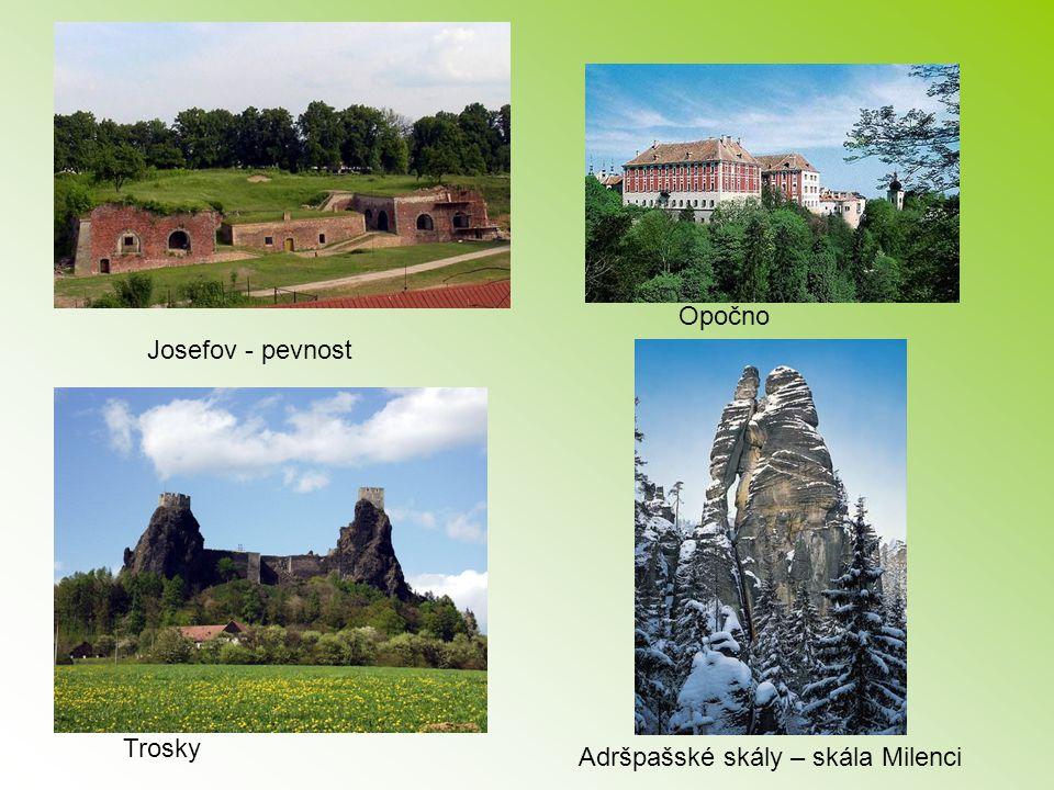 Opočno Josefov - pevnost Trosky Adršpašské skály – skála Milenci