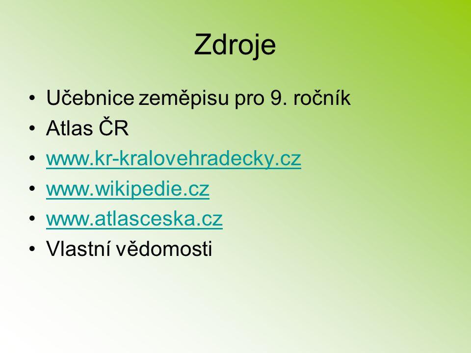 Zdroje Učebnice zeměpisu pro 9. ročník Atlas ČR