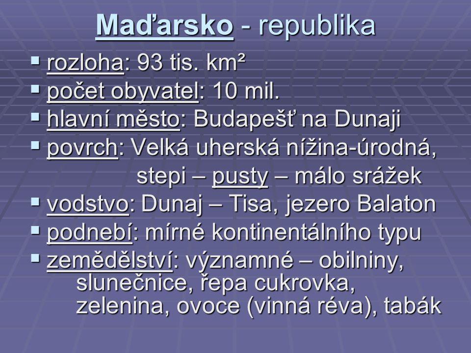 Maďarsko - republika rozloha: 93 tis. km² počet obyvatel: 10 mil.