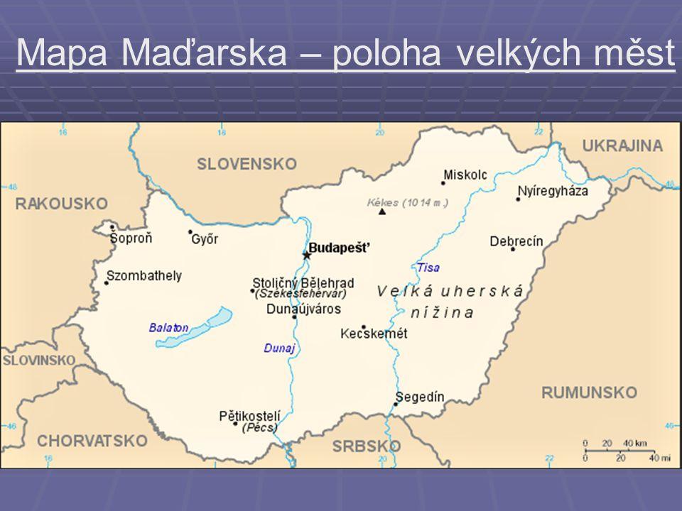Mapa Maďarska – poloha velkých měst