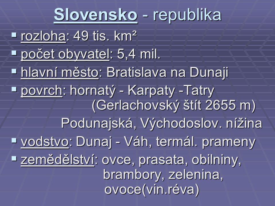 Slovensko - republika rozloha: 49 tis. km² počet obyvatel: 5,4 mil.