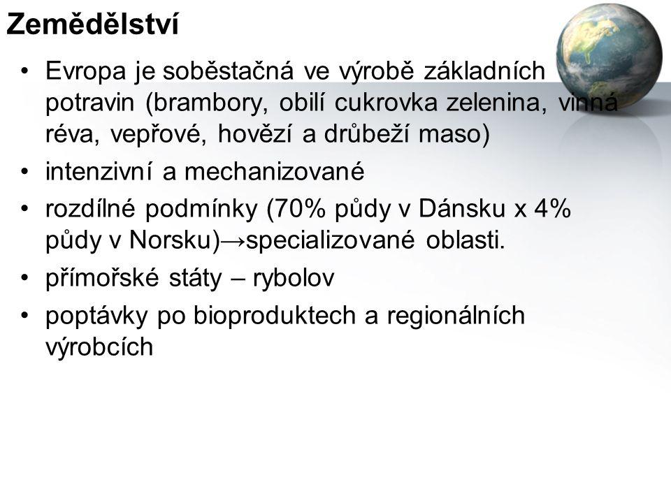 Zemědělství Evropa je soběstačná ve výrobě základních potravin (brambory, obilí cukrovka zelenina, vinná réva, vepřové, hovězí a drůbeží maso)