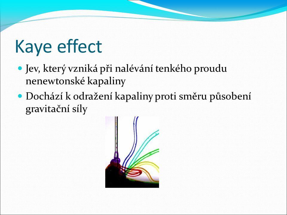 Kaye effect Jev, který vzniká při nalévání tenkého proudu nenewtonské kapaliny.