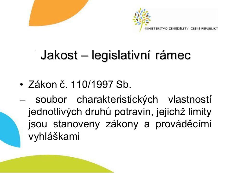 Jakost – legislativní rámec