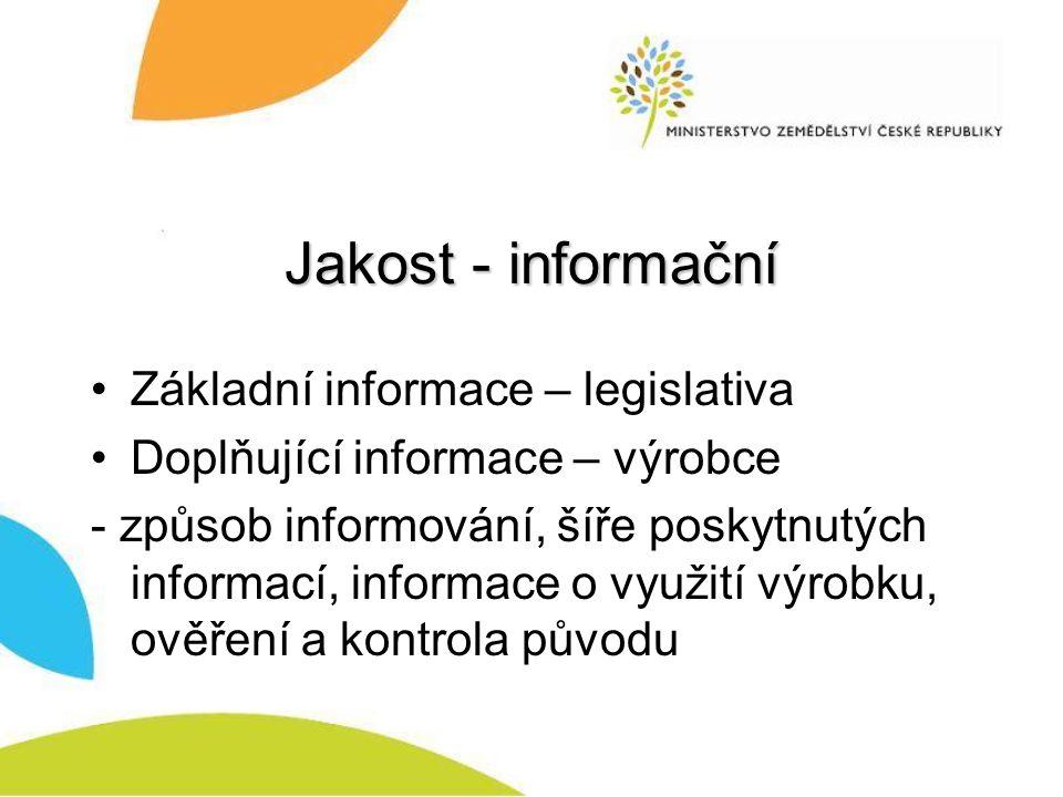 Jakost - informační Základní informace – legislativa
