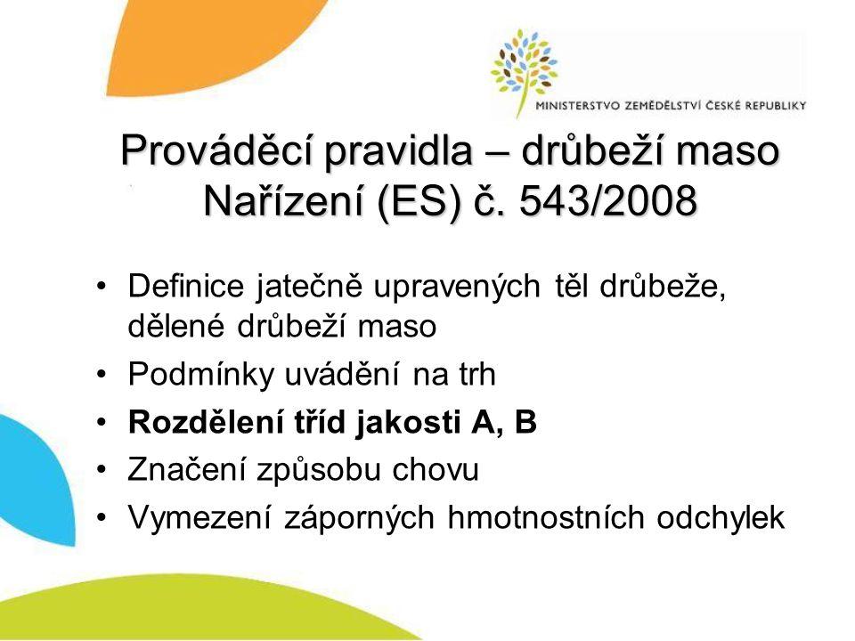 Prováděcí pravidla – drůbeží maso Nařízení (ES) č. 543/2008