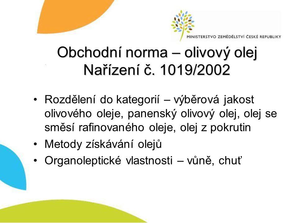Obchodní norma – olivový olej Nařízení č. 1019/2002