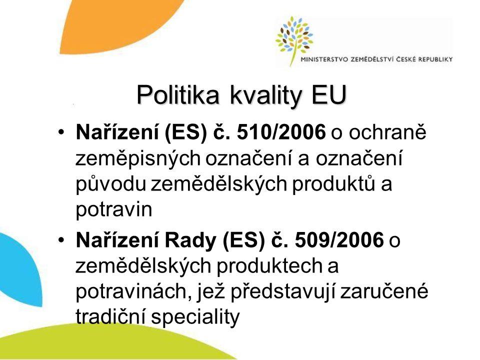 Politika kvality EU Nařízení (ES) č. 510/2006 o ochraně zeměpisných označení a označení původu zemědělských produktů a potravin.