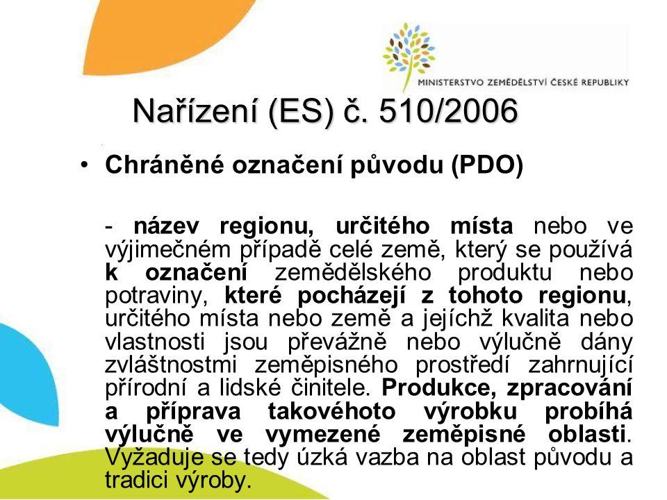 Nařízení (ES) č. 510/2006 Chráněné označení původu (PDO)