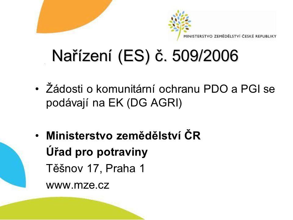 Nařízení (ES) č. 509/2006 Žádosti o komunitární ochranu PDO a PGI se podávají na EK (DG AGRI) Ministerstvo zemědělství ČR.