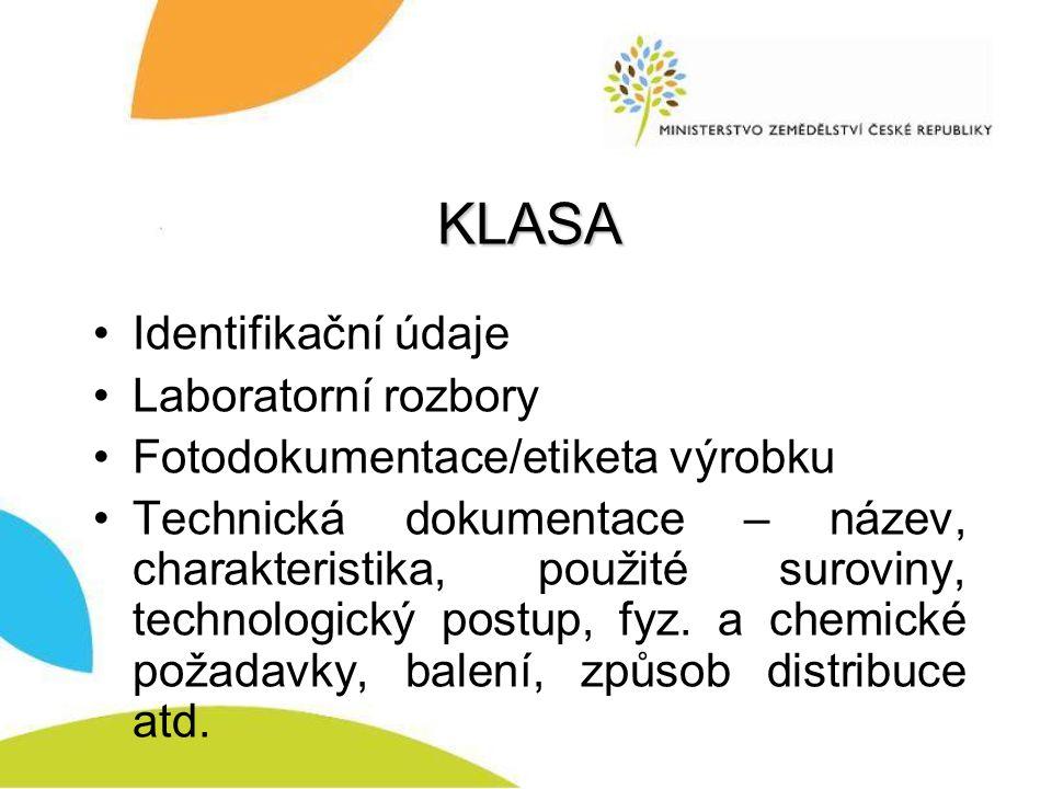 KLASA Identifikační údaje Laboratorní rozbory