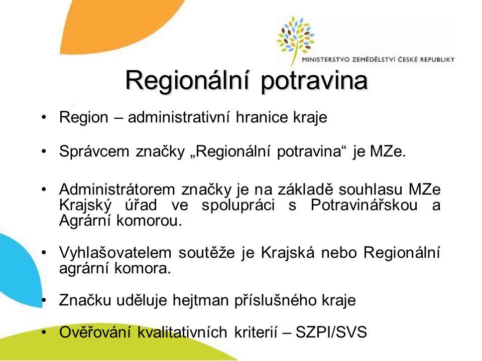 Regionální potravina Region – administrativní hranice kraje