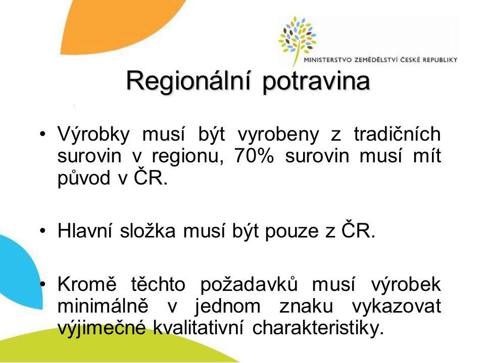 Regionální potravina Výrobky musí být vyrobeny z tradičních surovin v regionu, 70% surovin musí mít původ v ČR.