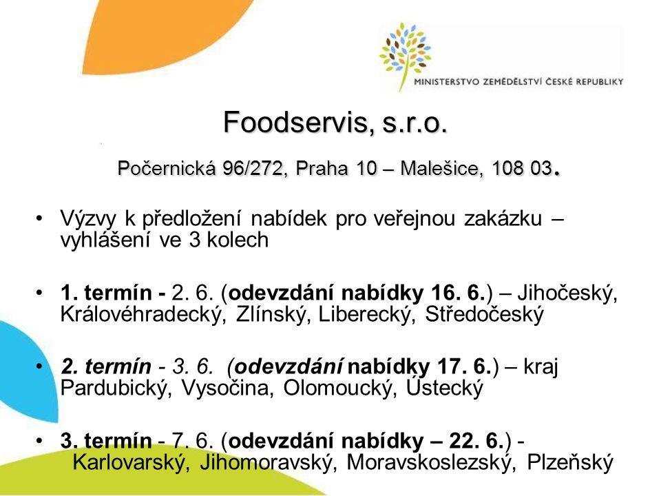Foodservis, s.r.o. Počernická 96/272, Praha 10 – Malešice, 108 03.