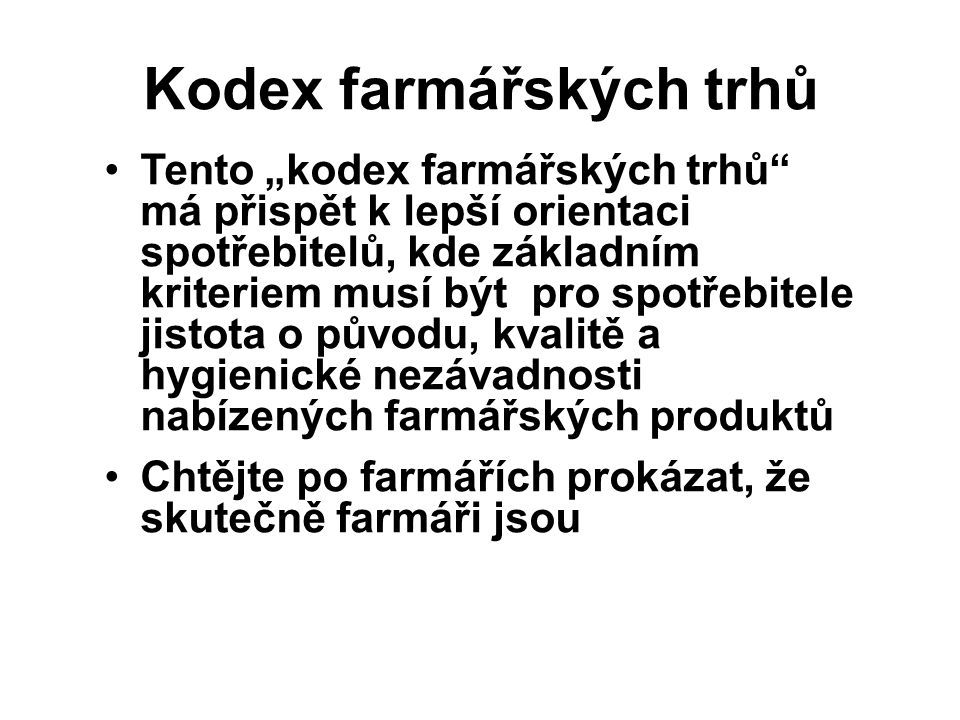 Kodex farmářských trhů