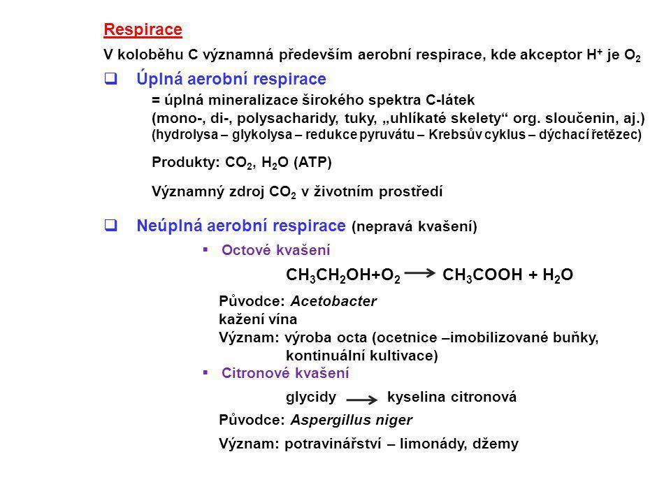 Úplná aerobní respirace = úplná mineralizace širokého spektra C-látek