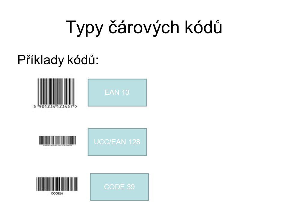 Typy čárových kódů Příklady kódů: EAN 13 UCC/EAN 128 CODE 39