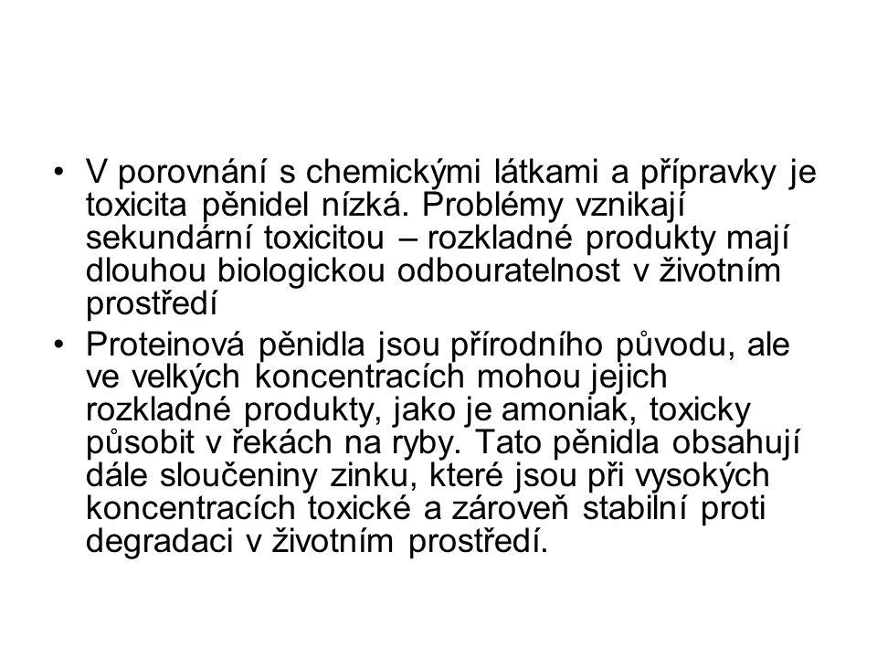 V porovnání s chemickými látkami a přípravky je toxicita pěnidel nízká
