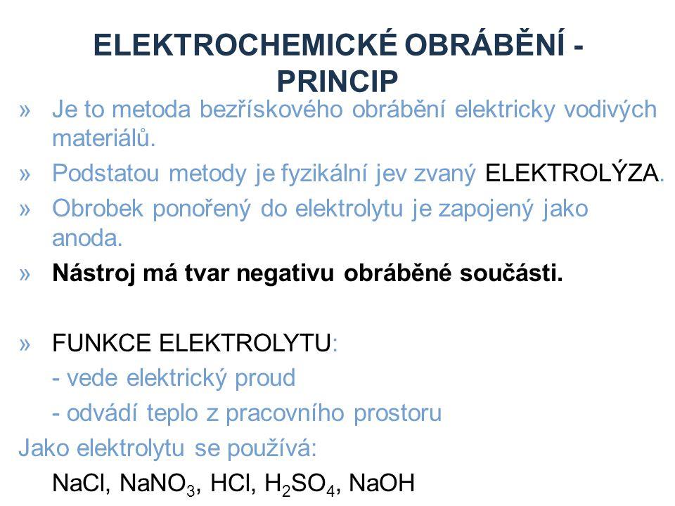 ELEKTROCHEMICKÉ OBRÁBĚNÍ - PRINCIP